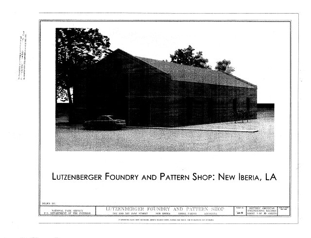 Cover Sheet - Lutzenberger Foundry and Pattern Shop, 502 and 505 Jane Street, New Iberia, Iberia Parish, LA