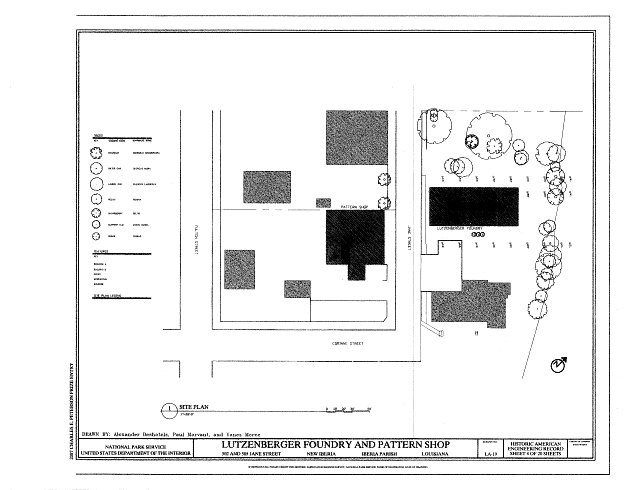 Site Plan - Lutzenberger Foundry and Pattern Shop, 502 and 505 Jane Street, New Iberia, Iberia Parish, LA