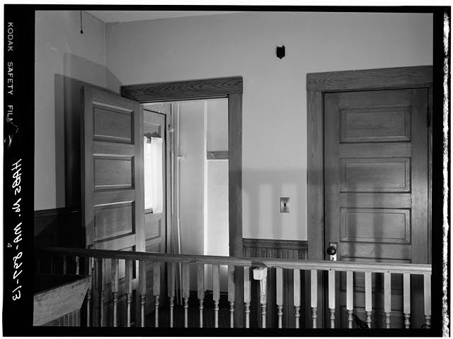 13.  FIRST FLOOR, VIEW FROM KITCHEN OF REAR HALLWAY AND DOOR TO BASEMENT - John Fitzgerald Kennedy Birthplace, 83 Beals Street, Brookline, Norfolk County, MA