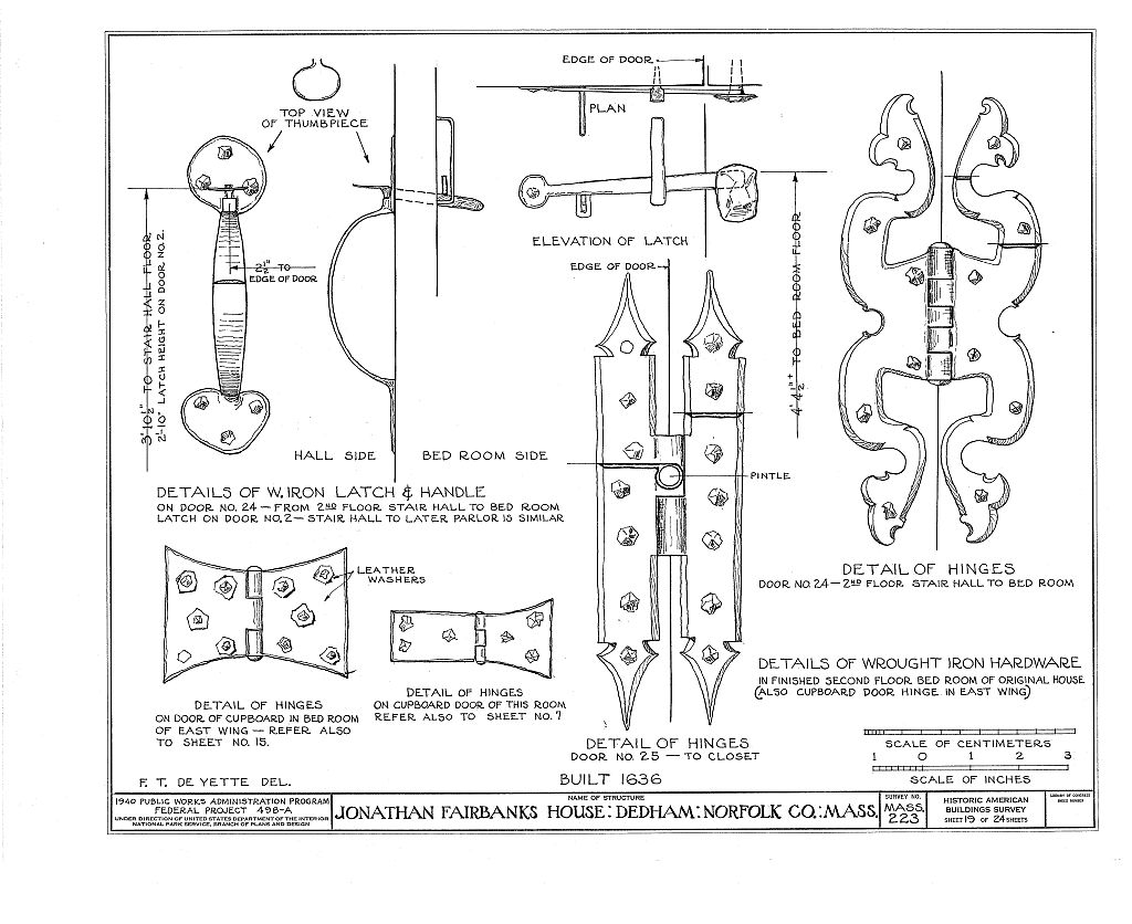 Fairbanks House wrought-iron door hardware drawing