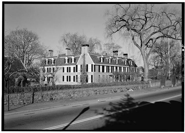 General view, from southwest. South elevation (right) is on the front - Adams Mansion, 135 Adams Street, Quincy, Norfolk County, MA