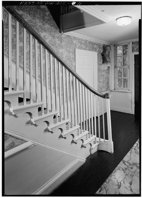 Stairhall in the 1800 addition (east interior side of house), from northwest - Adams Mansion, 135 Adams Street, Quincy, Norfolk County, MA