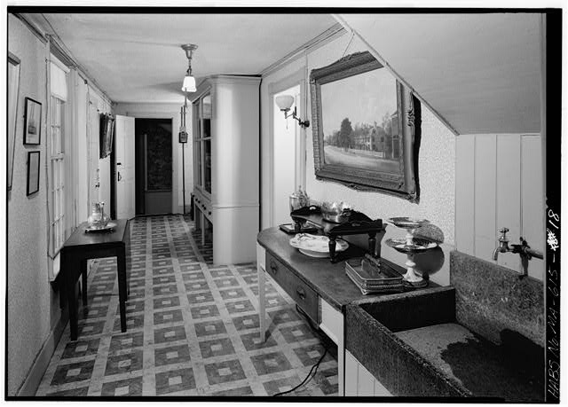 Corridor, located between dining room and rear yard. The 1800 stairhall is in the background and looks east - Adams Mansion, 135 Adams Street, Quincy, Norfolk County, MA