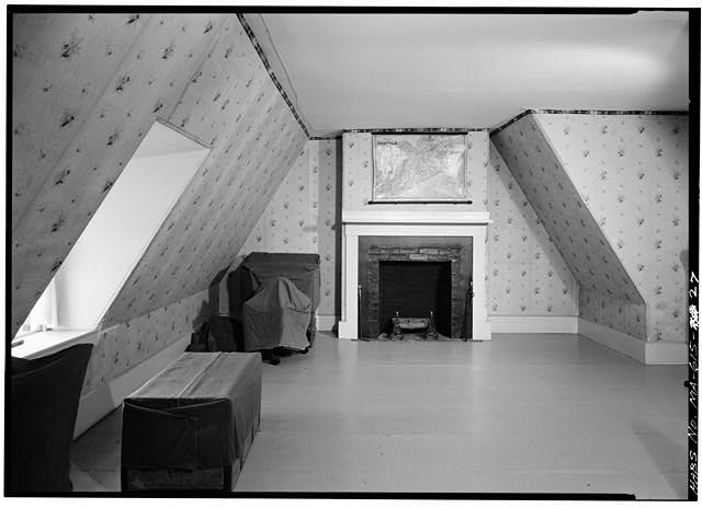 Bedroom, left-hand portion of original 1731 house, west wall - Adams Mansion, 135 Adams Street, Quincy, Norfolk County, MA