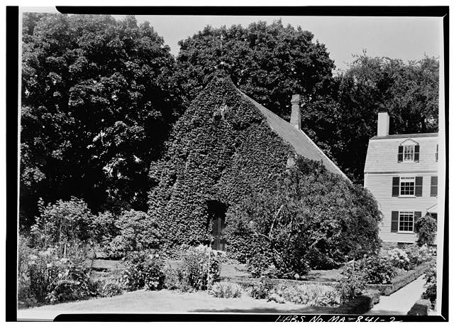 2.  VIEW OF WEST ELEVATION, ENTRANCE TO THE LIBRARY.  Photographed by Charles E. Peterson, August 1954 - Adams Mansion, Stone Library, 135 Adams Street, Quincy, Norfolk County, MA