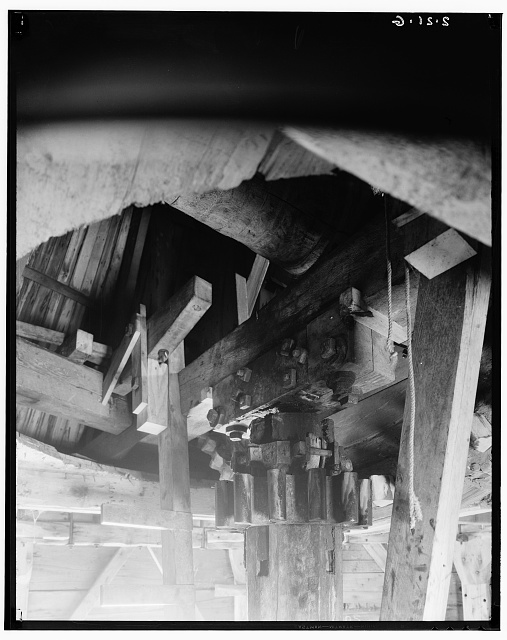 7.  Interior - Detail cog on upright. 1935. - Cape Cod Windmill, Samoset Road (moved from Plymouth to Truro to Eastham, MA), Eastham, Barnstable County, MA