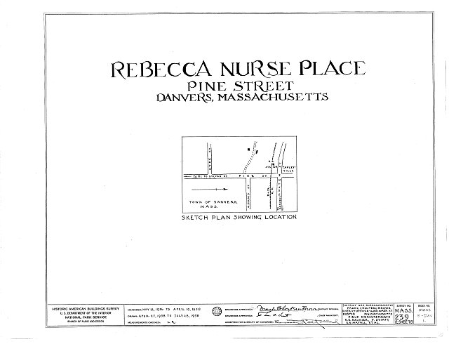 HABS MASS,5-DAV,1- (sheet 0 of 2) - Rebecca Nurse Place, 149 Pine Street, Danvers, Essex County, MA