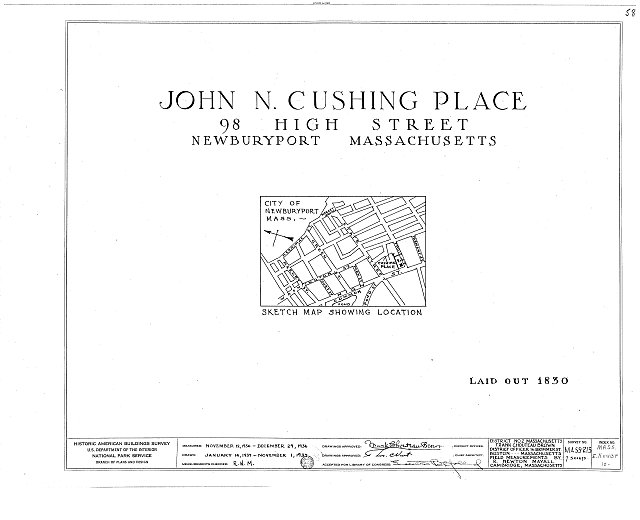 HABS MASS,5-NEWBP,10- (sheet 0 of 7) - John N. Cushing Place, 98 High Street, Newburyport, Essex County, MA