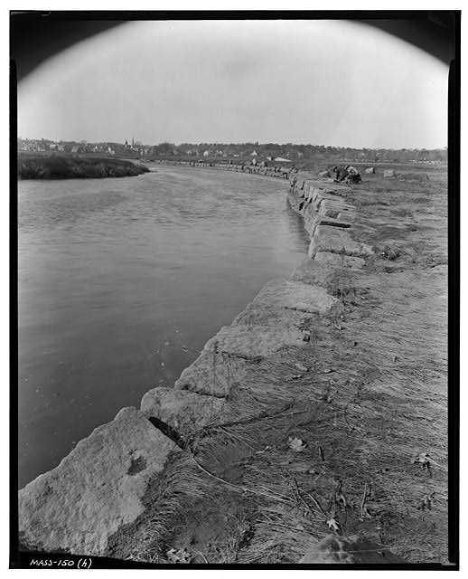 5.  Historic American Buildings Survey Frank O. Branzetti, Photographer Nov. 4, 1940. (h) VIEW OF WHARF LOOKING WEST-NORTHWEST - Granite Railway, Pine Hill Quarry to Neponset River, Quincy, Norfolk County, MA