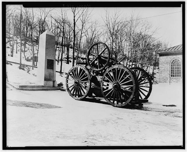 6.  Historic American Buildings Survey, Arthur C. Haskell, Photographer; COPY OF VIEW BELONGING RO MR. FAXON, OF QUINCY. (f) Ext- Photo of full size model of old car. - Granite Railway, Pine Hill Quarry to Neponset River, Quincy, Norfolk County, MA
