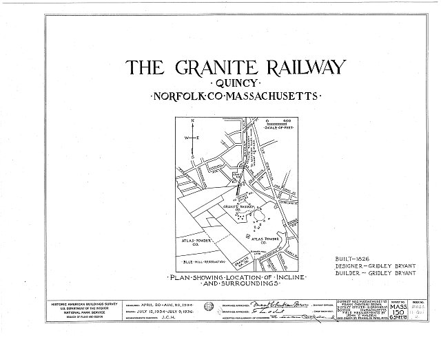 HABS MASS,11-QUI,4- (sheet 0 of 6) - Granite Railway, Pine Hill Quarry to Neponset River, Quincy, Norfolk County, MA