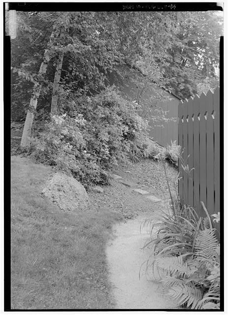 44.  VIEW OF STEPS LEADING FROM THE HISTORIC PARKING LOT TO THE RESERVE GARDEN AND UPPER LEVEL OF SHED.  (NOTE:  BARN FENCE IN RIGHT FOREGROUND). - Fairsted, 99 Warren Street, Brookline, Norfolk County, MA