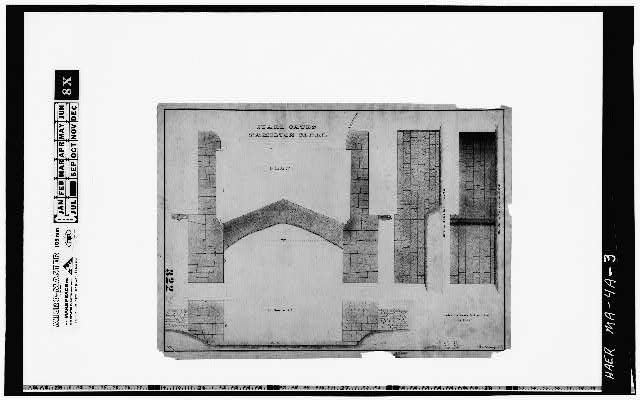 3.  Photocopy of a drawing (original in the Collection of the PL&C, Shelf 117, Drawing 322) GUARD GATES, HAMILTON CANAL, PLAN [& SECTION], OCTOBER 1, 1846 - Hamilton Canal, Guard Gates, Lowell, Middlesex County, MA