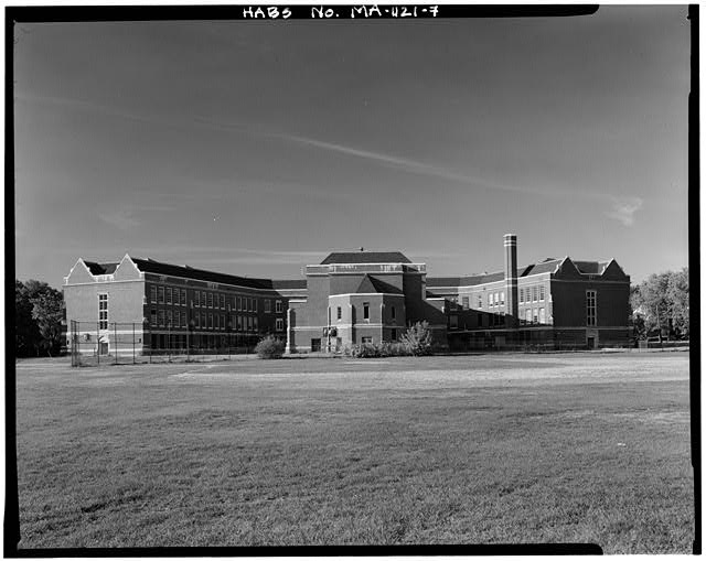 7.  VIEW SOUTHWEST, REAR ELEVATION - John Wingate Weeks Junior High School, Hereward & Rowena Streets, Newton Center, Middlesex County, MA