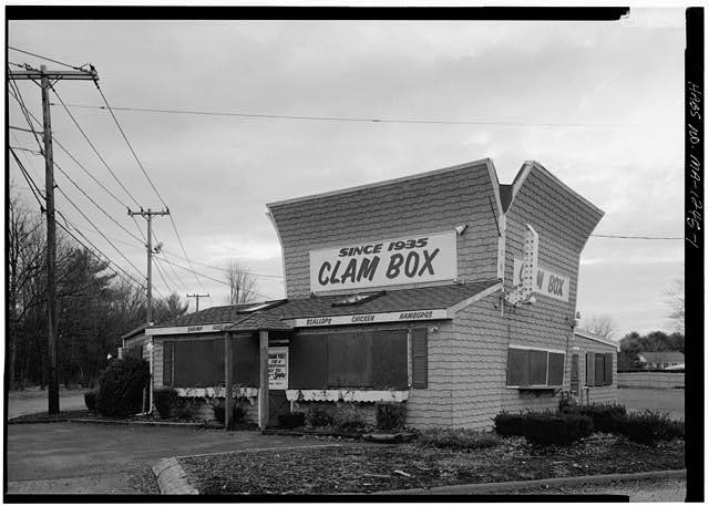 1.  PERSPECTIVE VIEW OF NORTH (FRONT) AND WEST SIDE ELEVATIONS - Clam Box Restaurant, High Street &amp; Mile Lane (Route 1-A), Ipswich, Essex County, MA