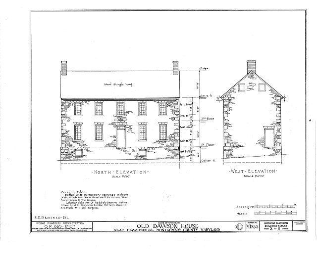 HABS MD,16-DAWV.V,1- (sheet 2 of 6) - Dawson House, 15200 Sugarland Road, Dawsonville, Montgomery County, MD