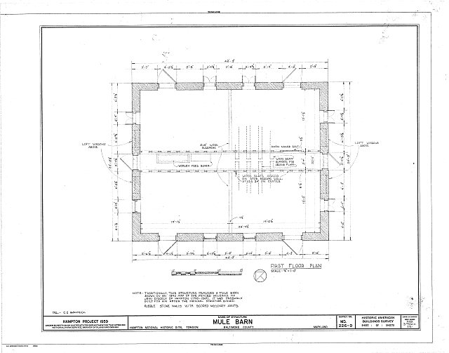 HABS MD,3-TOW.V,1X- (sheet 1 of 1) - Hampton, Mule Barn, 537 1/2 Saint Francis Road, Towson, Baltimore County, MD