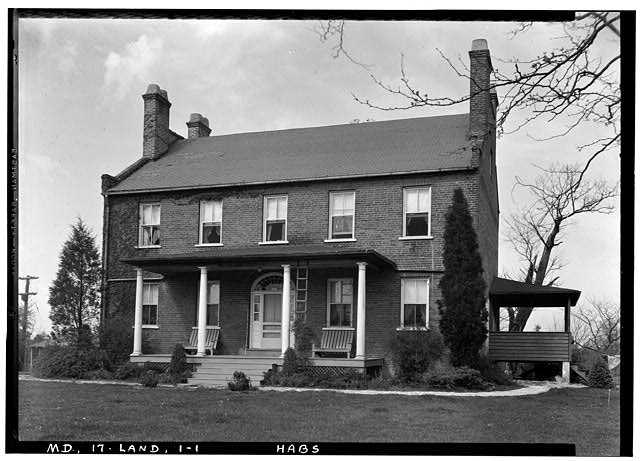 1.  Historic American Buildings Survey John O. Brostrup, Photographer April 30, 1936 2:55 P.M. VIEW FROM SOUTHWEST (front) - Beall's Pleasure, Landover Road Vicinity, Landover, Prince George's County, MD