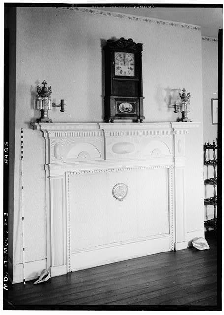 3.  Historic American Buildings Survey John O. Brostrup, Photographer October 12, 1936 10:50 A.M. DETAIL OF MANTEL SOUTH WALL OF LIVING ROOM - Essington Hall (Interiors), Old Mount Oak Road, Bowie, Prince George's County, MD