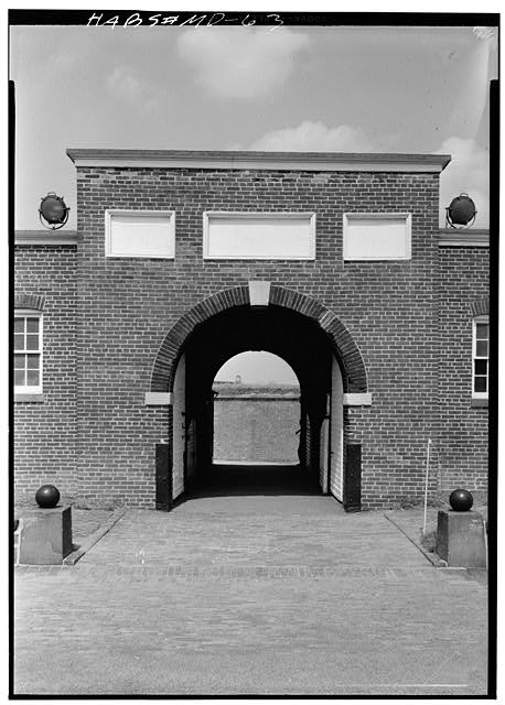 27.  July 1958 INTERIOR ELEVATION OF SALLY PORT, SHOWN WITH DOORS OPEN - Fort McHenry National Monument & Historic Shrine, East Fort Avenue at Whetstone Point, Baltimore, Independent City, MD