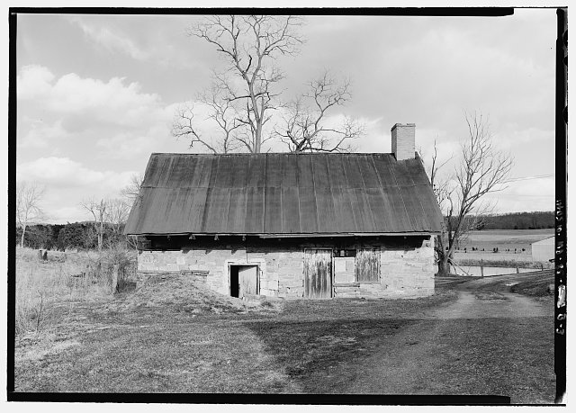 West (front) elevation - Roulette Farm, Springhouse-Kitchen, Sharpsburg, Washington County, MD