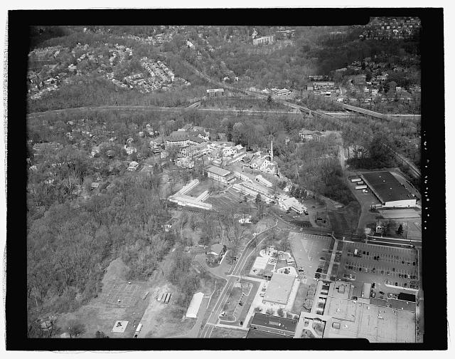 Aerial view of Forest Glen and environs from low altitude, approximately 250' - National Park Seminary, Bounded by Capitol Beltway (I-495), Linden Lane, Woodstove Avenue, & Smith Drive, Silver Spring, Montgomery County, MD