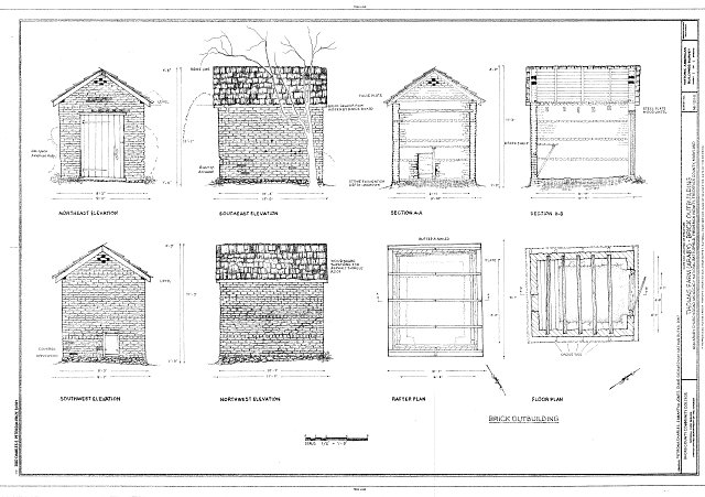 Elevations, Section, Rafter Plan and Floor Plan - Thomas Farm, Brick Outbuilding, 4632 Araby Church Road, Frederick, Frederick County, MD