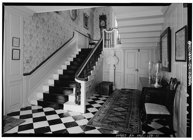 11.  INTERIOR, FIRST FLOOR, STAIRHALL, LOOKING NORTH - William Pepperrell House, State Route 103, Kittery Point, York County, ME