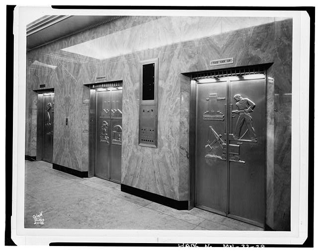 29.  First floor elevator doors with reliefs by E. R. Stewart, nearest door shows construction worker - St. Paul City Hall & Ramsey County Courthouse, 15 West Kellogg Boulevard, Saint Paul, Ramsey County, MN
