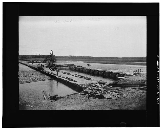8.  Photographic copy of historic photograph, 1901, reconstruction - Leech Lake Reservoir Dam, Federal Dam, Cass County, MN