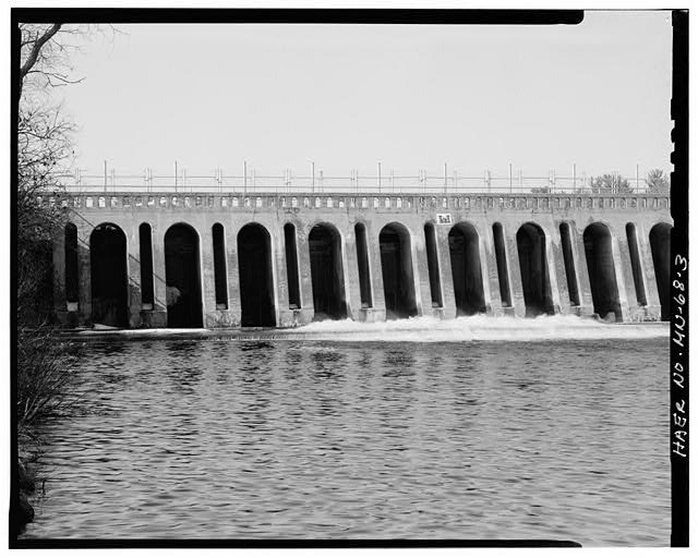 3.  Downstream view of gates, looking north - Pine River Reservoir Dam, Cross Lake, Crow Wing County, MN
