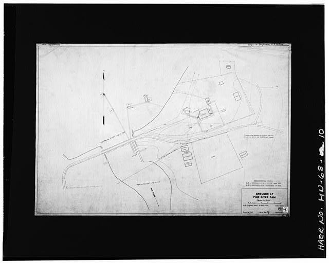 10.  Photographic copy of site map, 1920 - Pine River Reservoir Dam, Cross Lake, Crow Wing County, MN