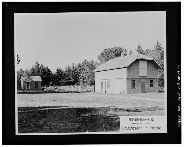 Photographic copy of historic photograph, 1937, barn on dam site  EAST (FRONT) - Pine River Reservoir Dam, Barn, Cross Lake, Crow Wing County, MN