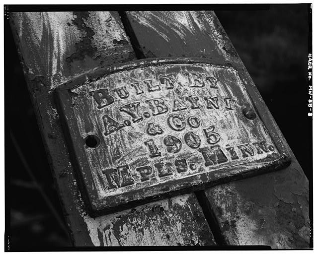 8.  West truss web, northwest end post, detail of builder's plate; looking southwest - Bridge No. 92101, Spanning Pike River at County Highway 373, Embarrass, St. Louis County, MN