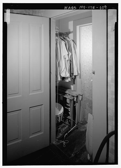 North Closet (209-B) and Passage between Truman Dressing Room (209) and the Storage Room (213), second floor, from the south wall looking northeast - Harry S. Truman House, 219 North Delaware Street, Independence, Jackson County, MO