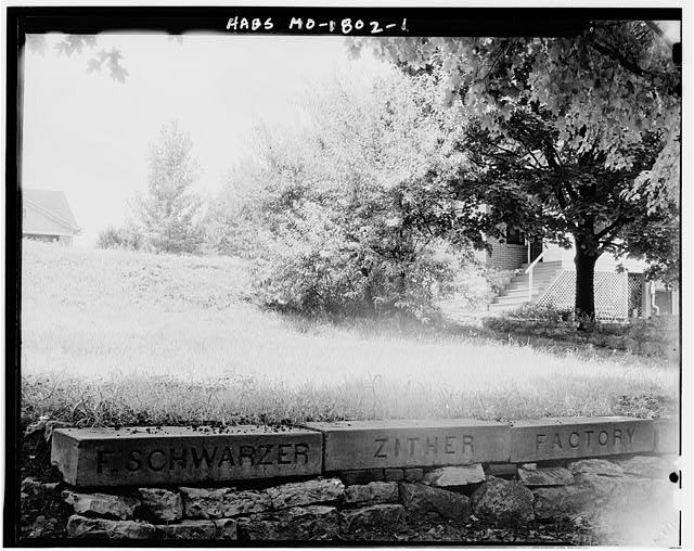 1.  STONE WALL WITH CARVED NAME - Schwarzer Zither Company, Washington, Franklin County, MO