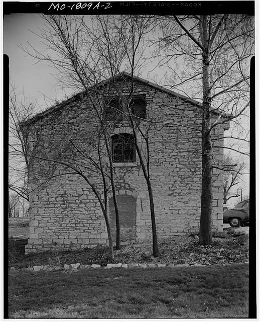 2.  Exterior, gable end. ca. 1957-60. - Jefferson Barracks, Stable, Jefferson Barracks, St. Louis County, MO