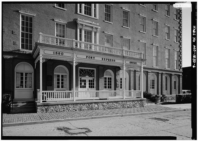 6.  DETAIL VIEW OF NORTH (FRONT) PORCH - Patee House Hotel, South Twelfth & Penn Streets, Saint Joseph, Buchanan County, MO