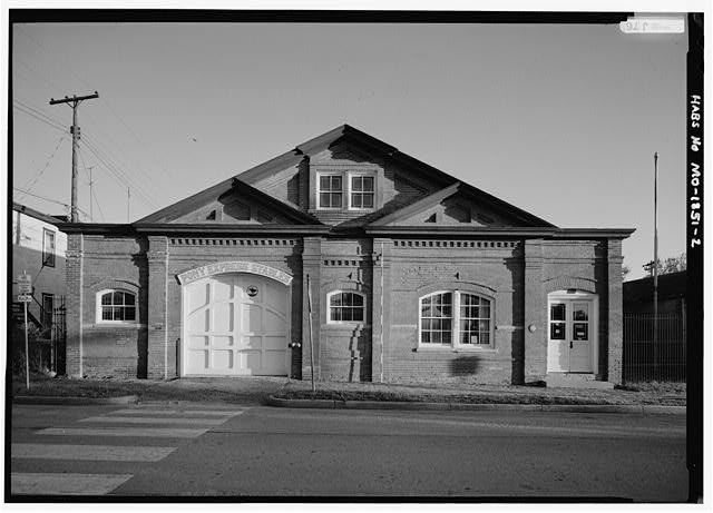 2.  NORTH FRONT WITH SCALE ROD - Pony Express Stables, 914 Penn Street, Saint Joseph, Buchanan County, MO