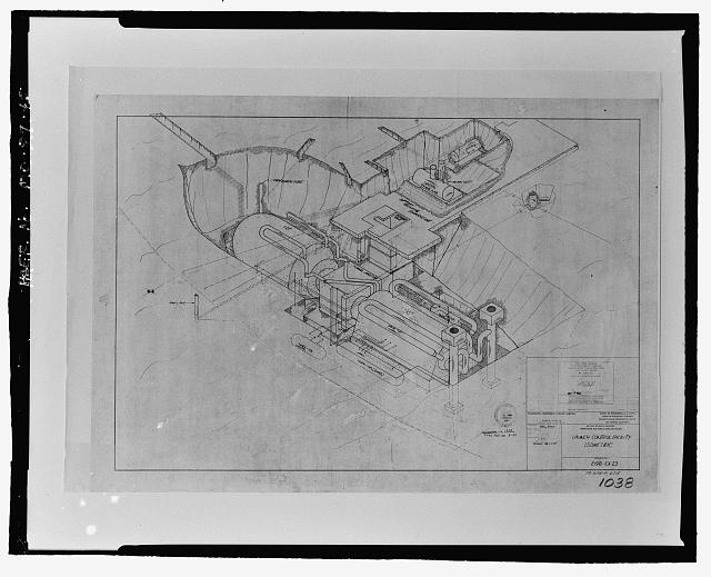 "45.  Photographic reproduction of construction drawing: ""Launch Control Facility, Isometric."" - Whiteman Air Force Base, Oscar O-1 Minuteman Missile Alert Facility, Southeast corner of Twelfth & Vendenberg Avenues, Knob Noster, Johnson County, MO"