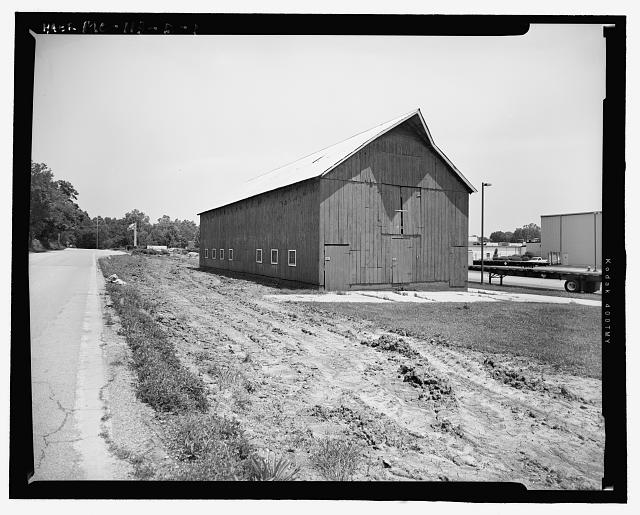Looking East at Wood Barn Rear (Southwest) and Northeast Side - Hematite Fuel Fabrication Facility, Wood Barn, 3300 State Road P, Festus, Jefferson County, MO