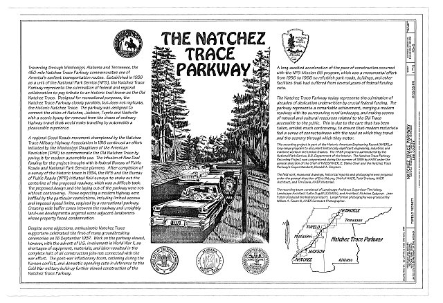 The Natchez Trace Parkway Title Sheet - Natchez Trace Parkway, Located between Natchez, MS & Nashville, TN, Tupelo, Lee County, MS