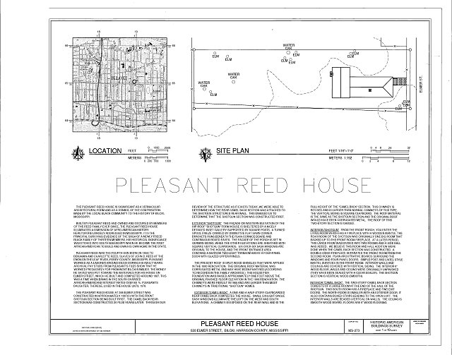 cover sheet with site plan and location map - Pleasant Reed House, 386 Beach Boulevard (moved from 928 Elmer Street), Biloxi, Harrison County, MS