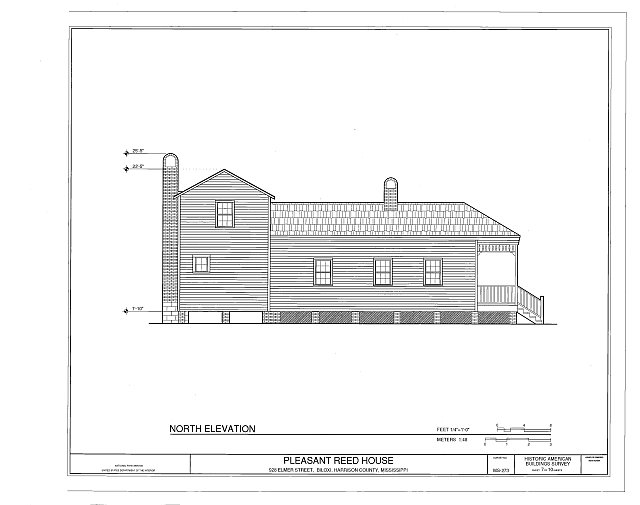 north elevation - Pleasant Reed House, 386 Beach Boulevard (moved from 928 Elmer Street), Biloxi, Harrison County, MS