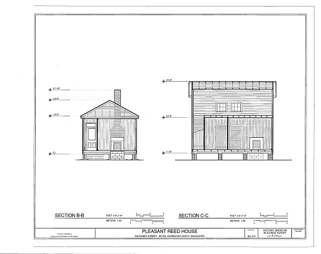 section - Pleasant Reed House, 386 Beach Boulevard (moved from 928 Elmer Street), Biloxi, Harrison County, MS