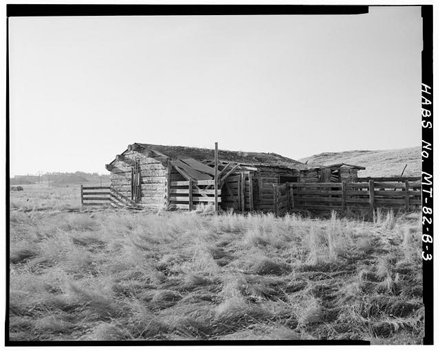 3.  REAR (EAST) OF HOUSE SHOWING ATTACHED CORRAL - Doc Taylor Place, House, East Fork of Armells Creek, Colstrip, Rosebud County, MT