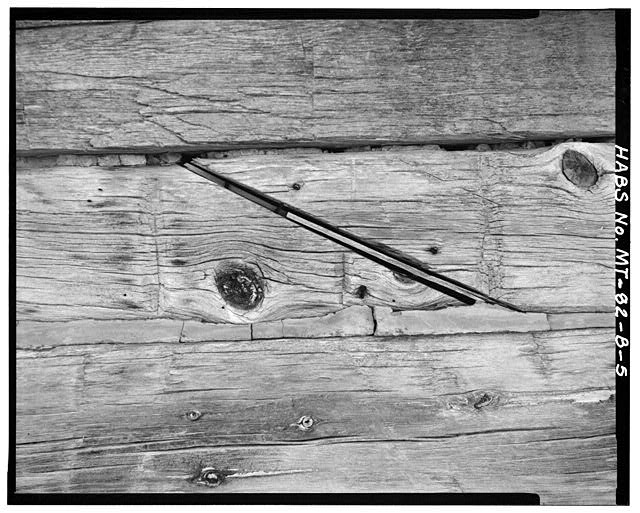 5.  DETAIL OF CENTER 'SCARF' JOINT - Doc Taylor Place, House, East Fork of Armells Creek, Colstrip, Rosebud County, MT