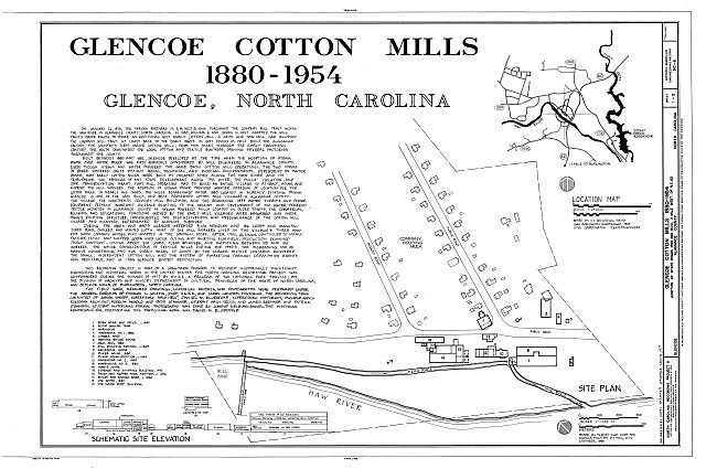 HAER NC,1-GLEN,1- (sheet 1 of 3) - Glencoe Cotton Mills, State Routes 1598 & 1600, Glencoe, Alamance County, NC
