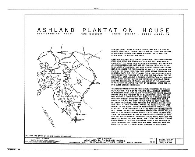 HABS NC,91-HEND.V,1- (sheet 1 of 8) - Ashland Plantation House, Satterwhite Road, Henderson, Vance County, NC