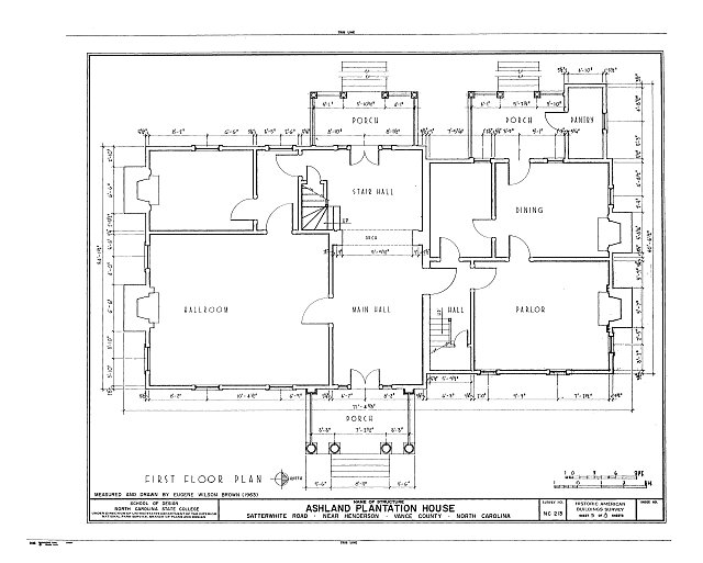 HABS NC,91-HEND.V,1- (sheet 3 of 8) - Ashland Plantation House, Satterwhite Road, Henderson, Vance County, NC